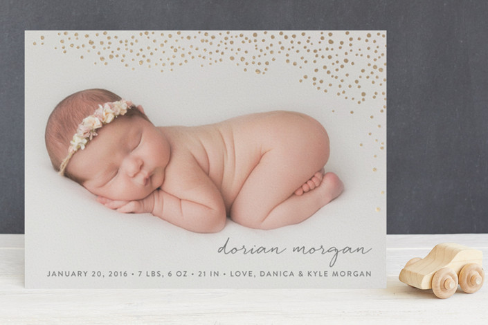 golden-dots-foil-pressed-birth-announcement