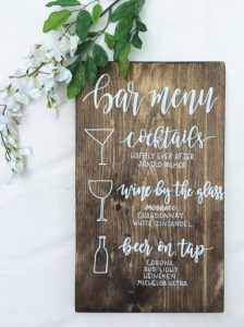Customizable Wedding Bar Menu Sign by DarlingAdorned (Etsy) | under $40 USD