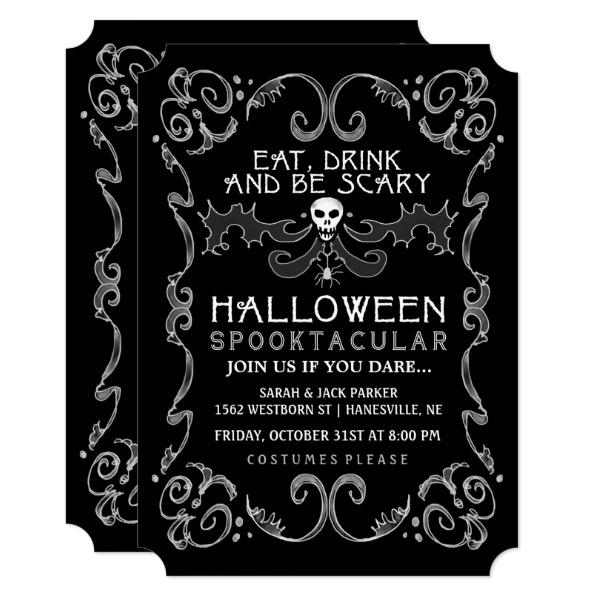 Halloween Black & White Party Invitation
