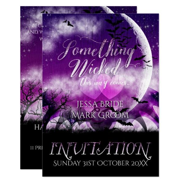 Wicked Fun Halloween Love Moon Wedding Invitation