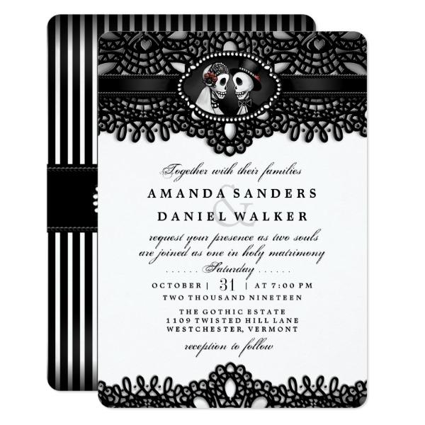 Black White Elegant Skeleton Wedding Together With Card