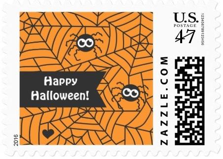 Cute Spiders, Spider Web, Happy Halloween Postage Stamp