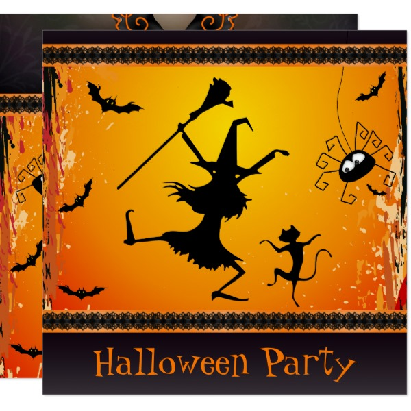 Fun scary unique halloween invitations partyinvitecards the funny dancing witch and cat halloween party card stopboris Gallery
