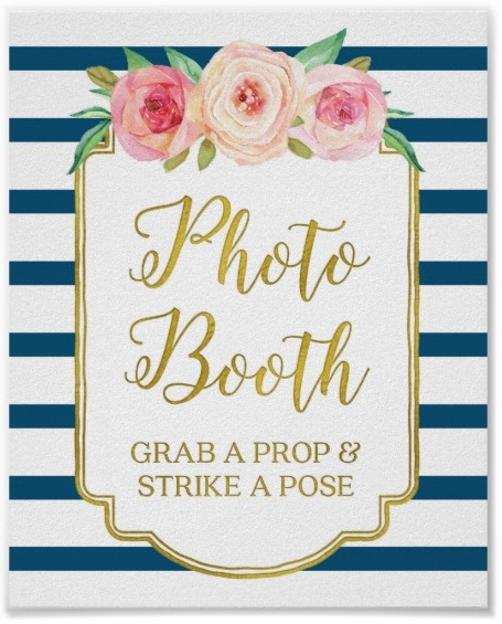 Photo Booth Sign Pink Gold Navy Blue White Stripes Poster