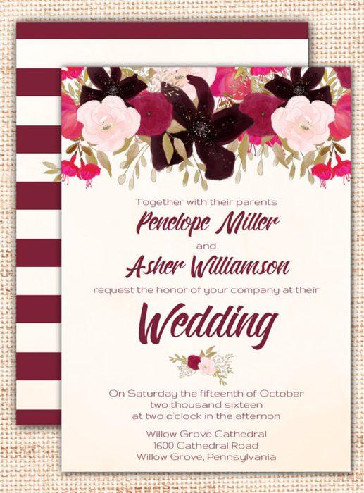 Bohemian Wedding Invitation Set Template by freshandyummy | etsy