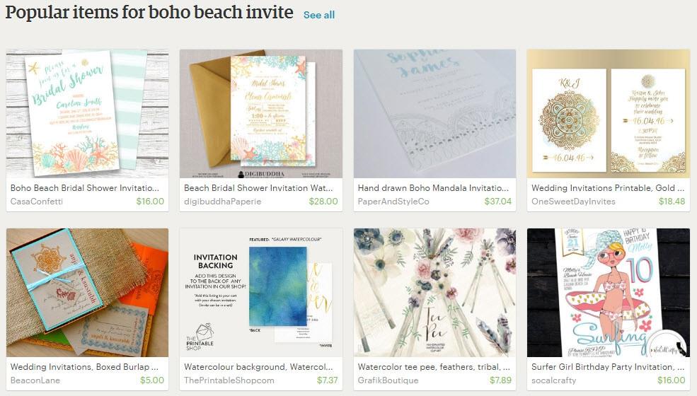 Popular items for boho beach invite | Bohemian Boho Wedding