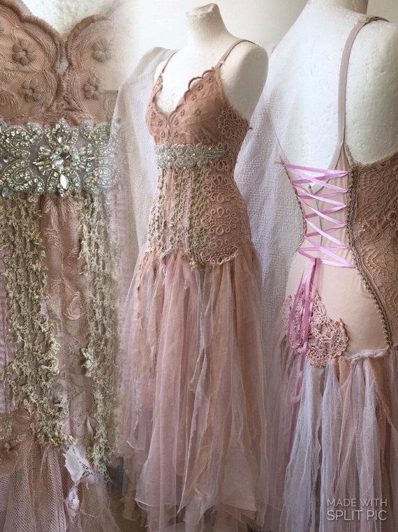 Boho wedding dress rose bridal gown by rawragsbypk | etsy