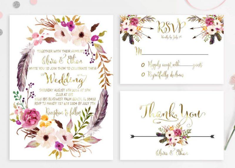 Boho Wedding Invitation Printable Floral Wedding Invitations Suite by preppydigitalart | etsy