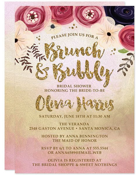 Gold and Pink Brunch & Bubbly Bridal Shower Invitations