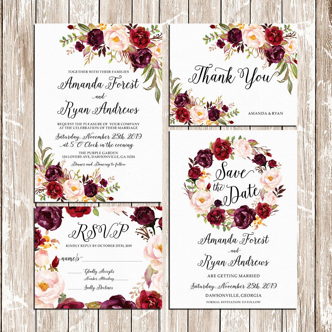 Boho Wedding Burgundy Purple and Pink floral Invitation by happylifeprintables | etsy