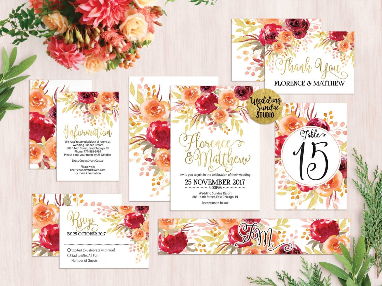 Red Orange Gold Romantic Boho Bohemian Wedding Invitation
