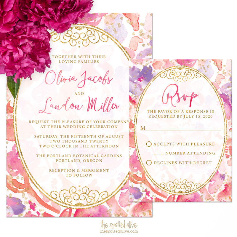 Watercolor Flowers Wedding Invitation+RSVP Card Set by thespottedolive | etsy