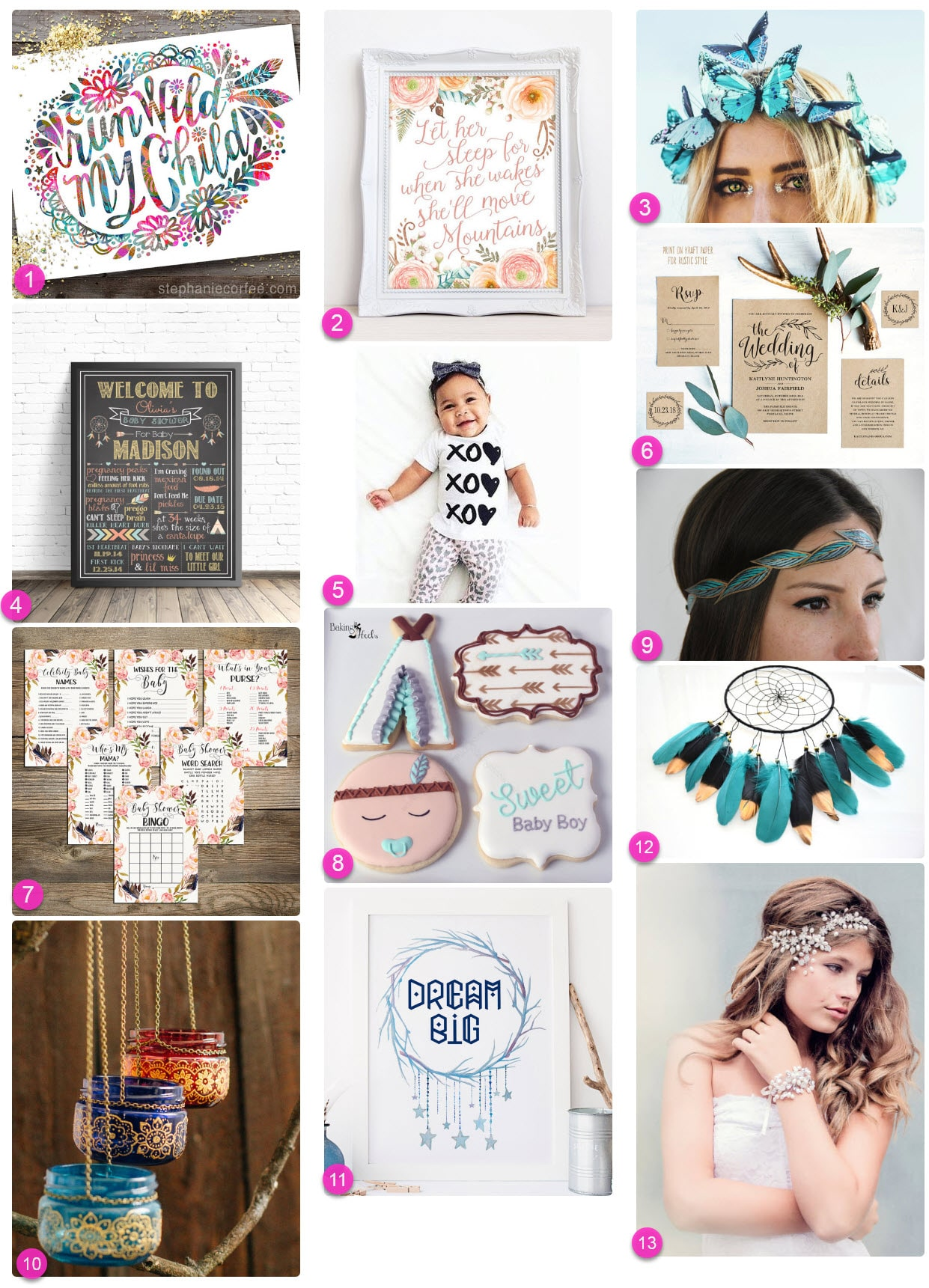 Bohemian style ideas for weddings and baby showers or boho baby birthday