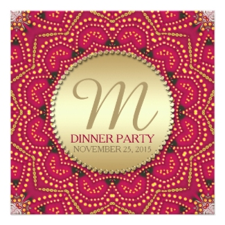 Red+Gold Eastern Bohemian Indian Dinner Party Card