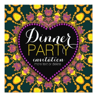 Tropical Hippie Love Batik Dinner Party Invitation