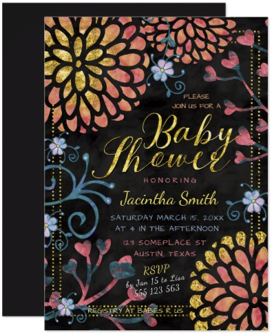 Black Pink and Gold Baby Shower Colorful Floral Card by Paperstation
