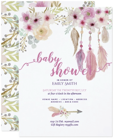 BOHO Floral Baby Shower Invitations Tribal Dreams by invitationz