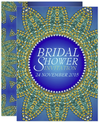 Egyptian Blue Teal Gold Star Bridal Shower Invites by AlternativeWeddings