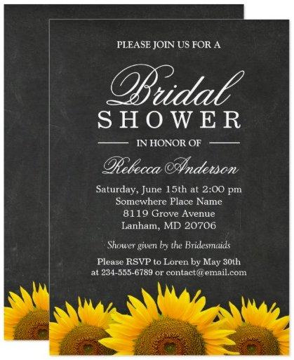 Bridal Shower Rustic Sunflower Black Chalkboard Card