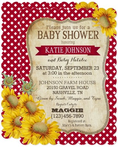 country_sunflowers_and_gingham_check_baby_shower_card