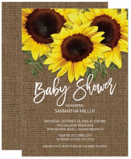 fall_sunflowers_neutral_baby_shower_card