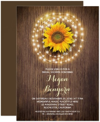 beautiful wooden texture bridal shower invitation with wreath of string lights and sunflower centerpiece.