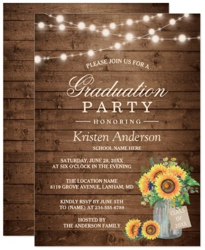 rustic_sunflowers_string_lights_graduation_party_card
