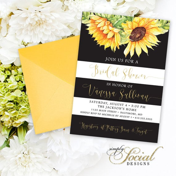 Sunflower wedding sunflower baby birthdays partyinvitecards sunflower bridal shower invitation watercolor sunflowers and black and white stripes bridal shower invitation printable filmwisefo Images