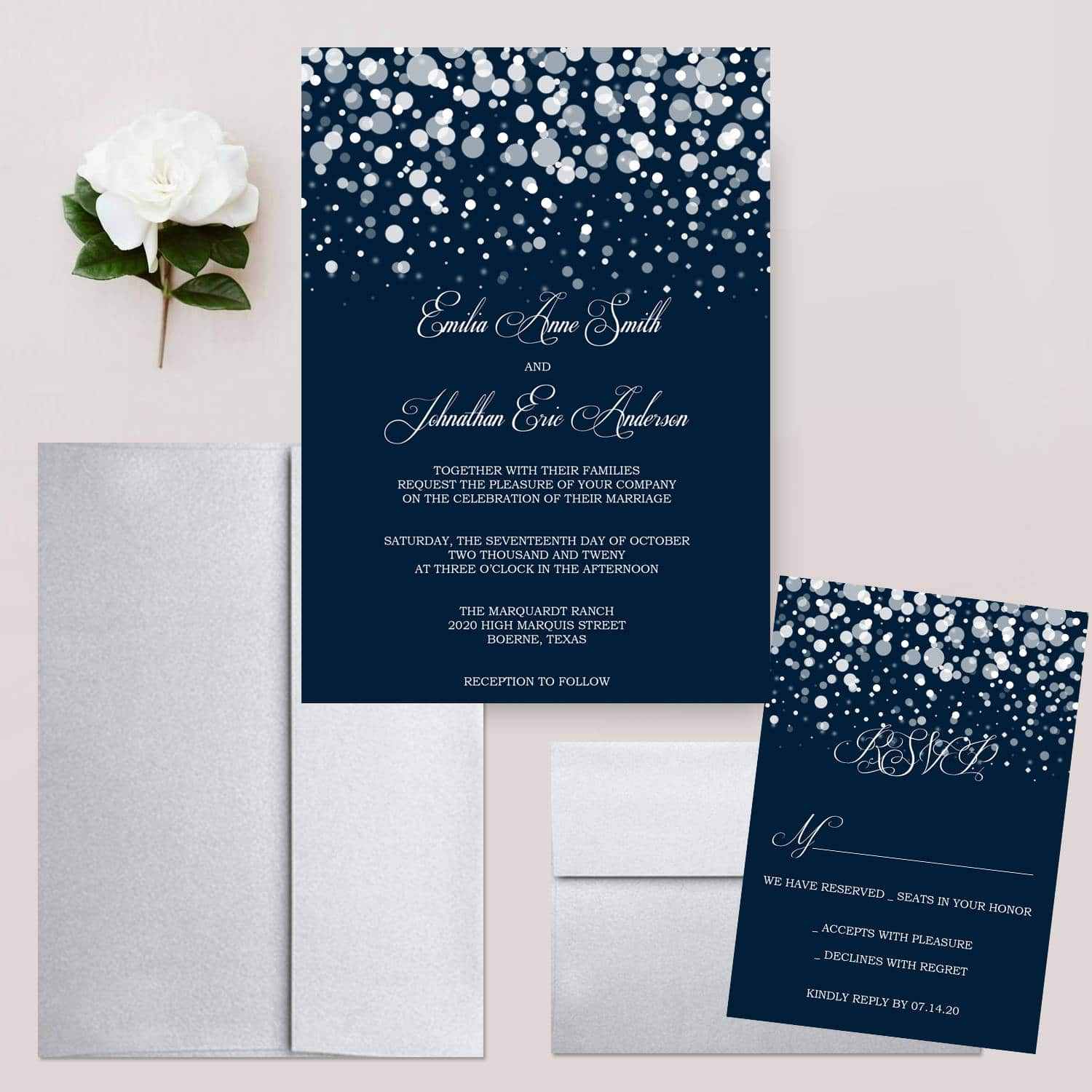 Starry Night Wedding Invitations Glitter