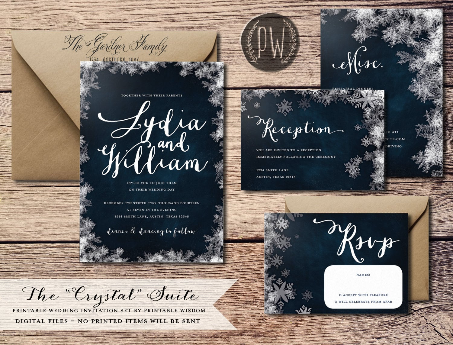 Winter Wedding Invitations • Winter Theme Decor ...