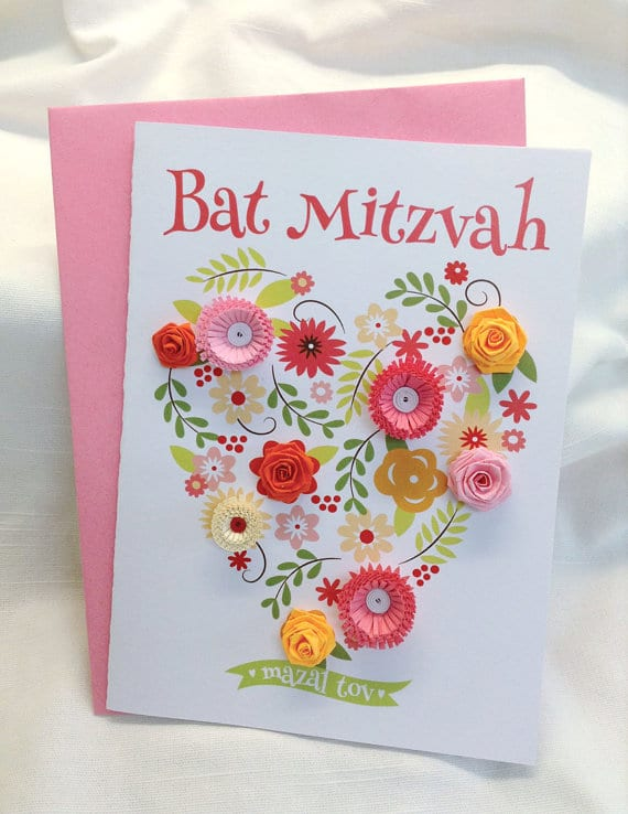 Bat Mitzvah Greeting Card: Floral Heart Collection