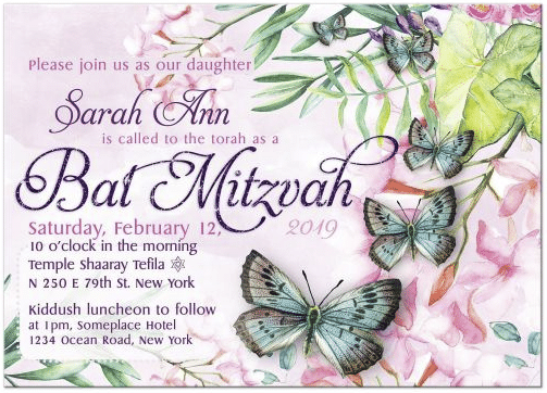 Butterfly Bat Mitzvah Invitations | Watercolor Flowers and Butterflies