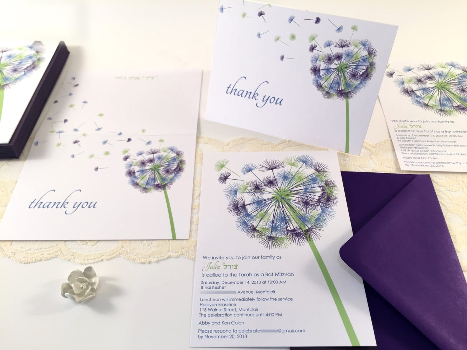 Dandelion Bat Mitzvah Invitation