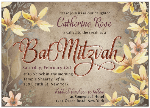 Floral watercolor style with rustic vintage tone Woodlands Flowers Bat Mitzvah Invitations