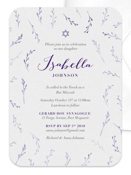 Soft Floral Bat Mitzvah Invitation