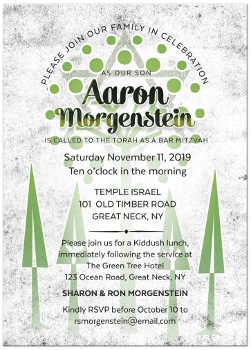 Tree of Life Bar Mitzvah Invitation | Green & White Urban