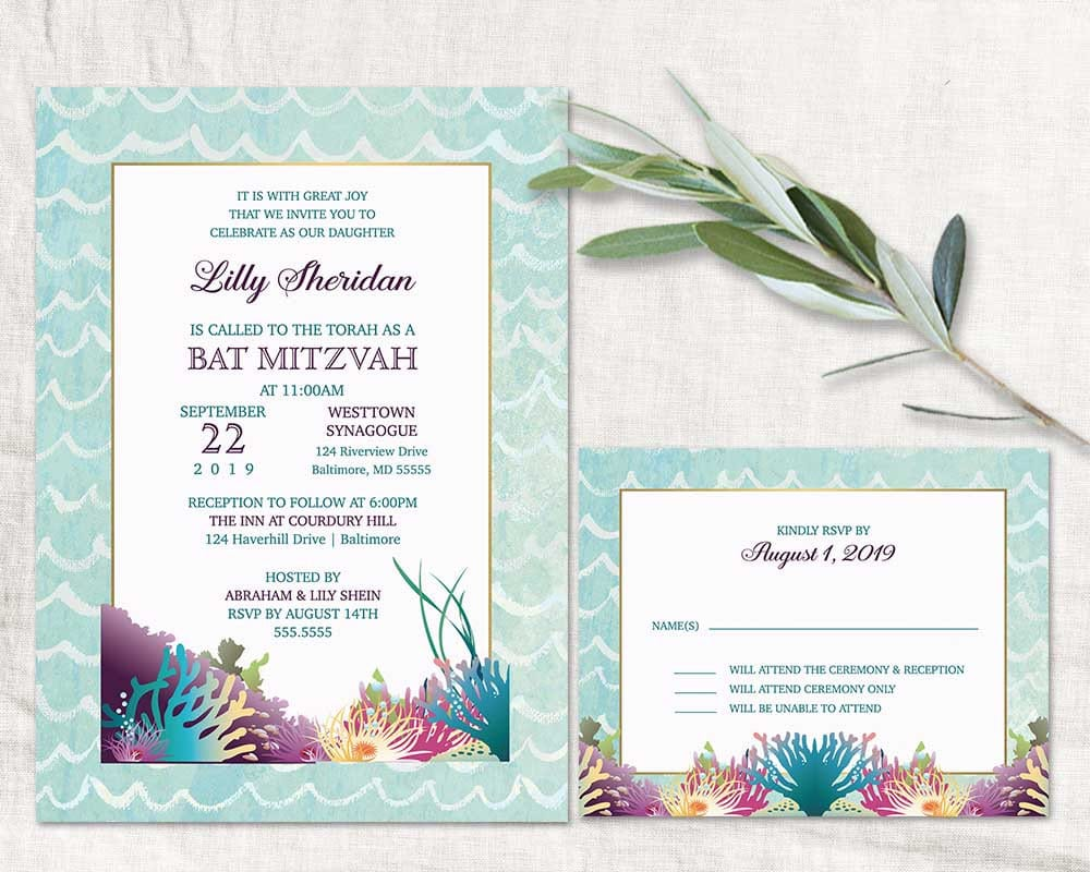 Undersea Bat Mitzvah Invitation Template Bat Mitzvah Invitations Ocean Theme Bat Mitzvah Invite