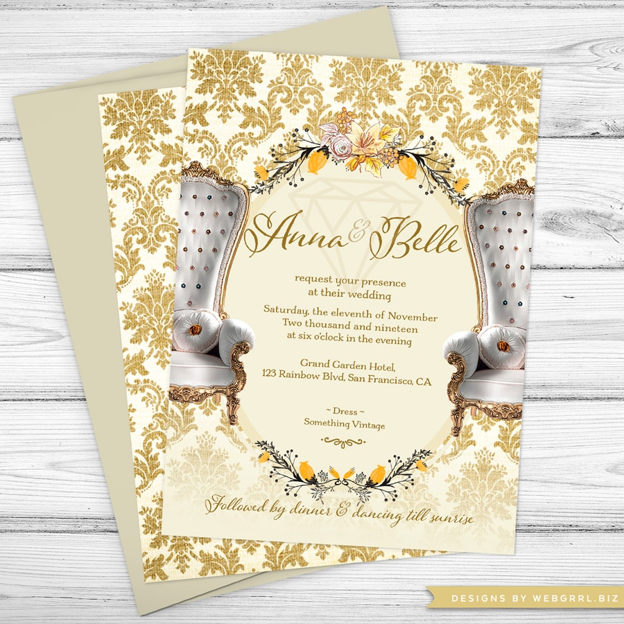 SameSex-Vintage-Gold-Damask-Wedding-Invite-A7-fb-MU900SQ