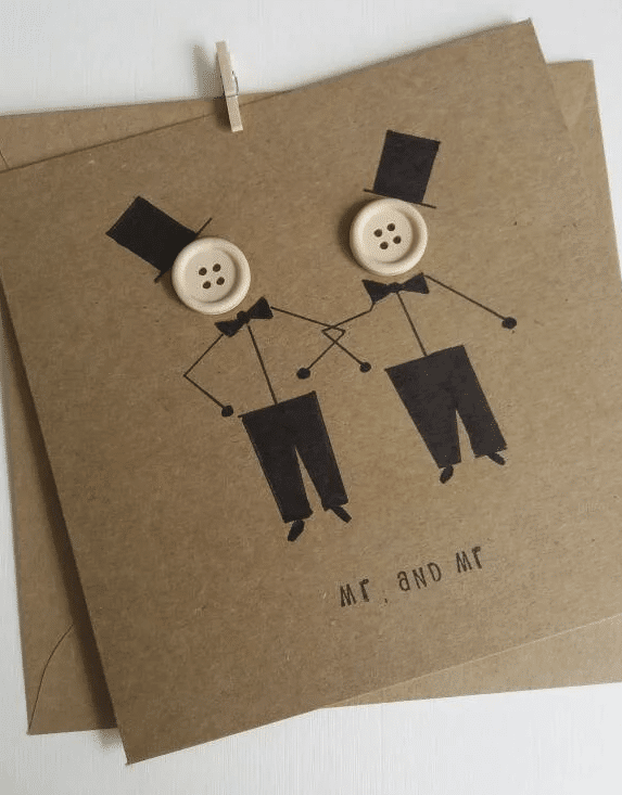 Gay wedding -mr and mr-Same sex marriage Handmade card