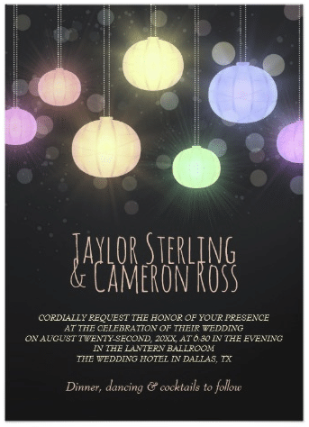 Glowing Rainbow Lanterns Wedding Invitation by Paperpaperpaper