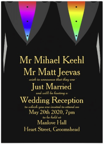 Hearts Aglow with Pride Gay Reception Invitation by AGayMarriage