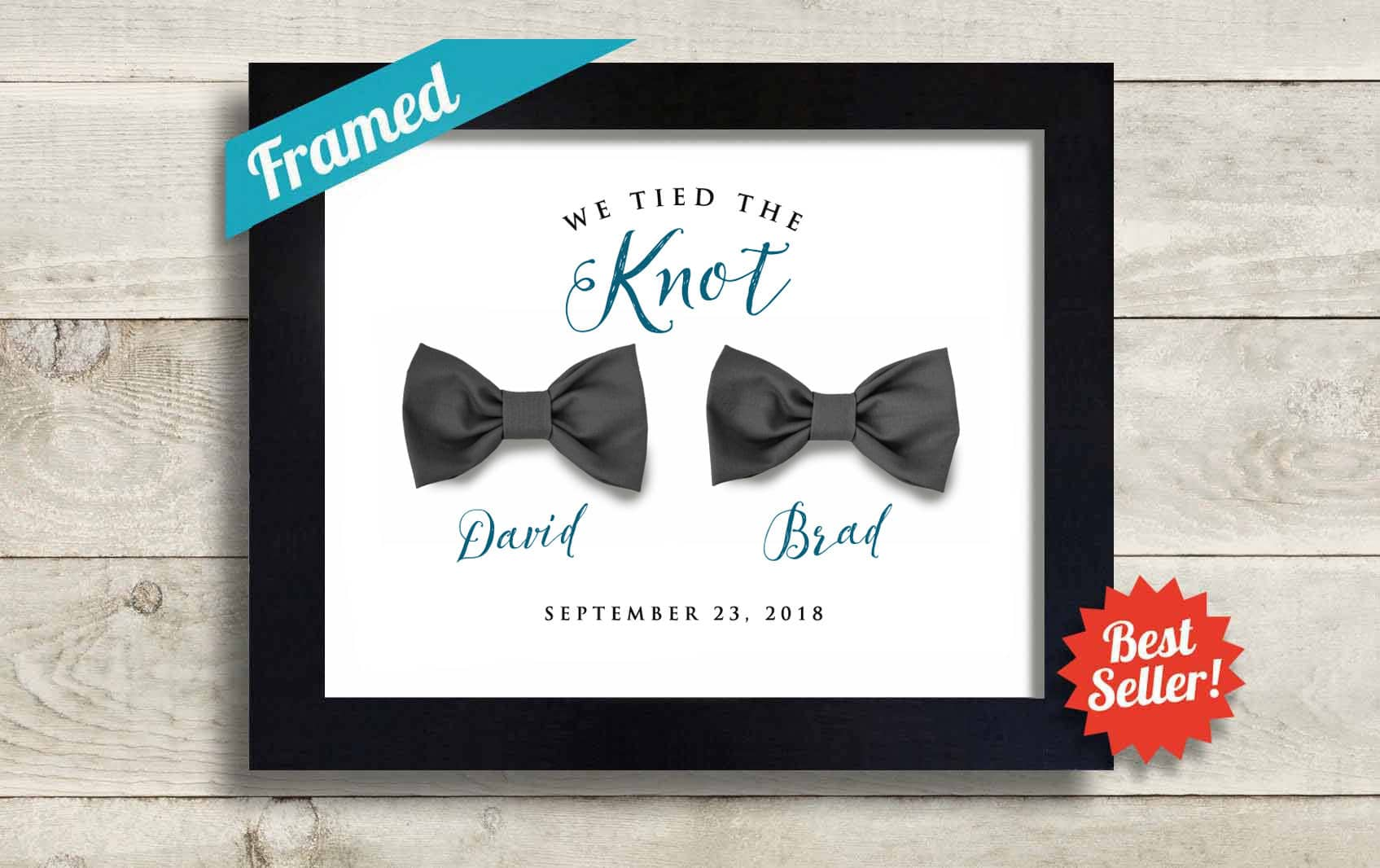 Personalized Gay Wedding Gift for Men, We Tied the Knot Bow Ties Gay Pride Newlyweds Couple