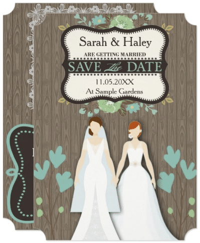 Rustic Save the Date Card, Two Brides Card by hkimbrell