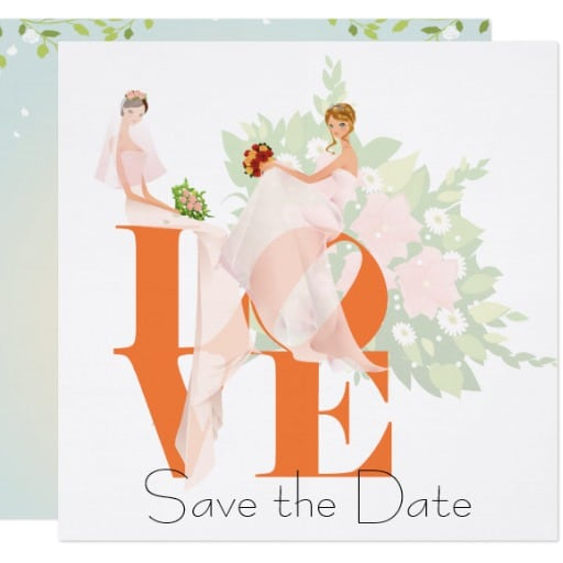 Two Brides LOVE Tangerine Card by Wedding_Trends