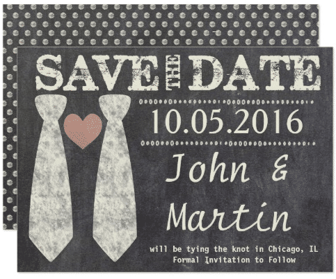 Tying the Knot Chalkboard Gay Save the Date Card by MyInsanity