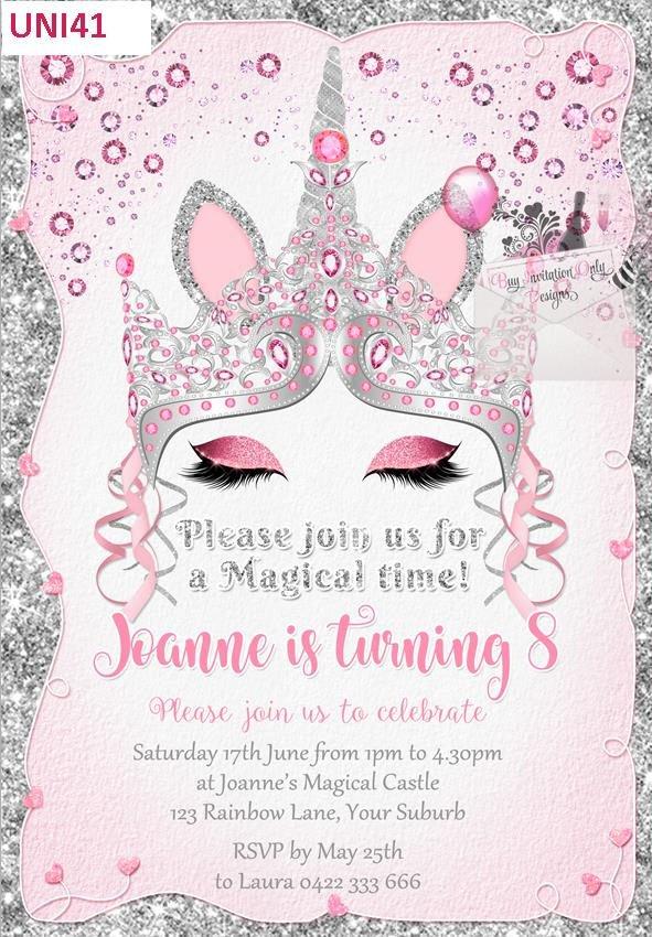 Diamond crown unicorn invitation birthday invitations invites glitter by DigiTreasureBox