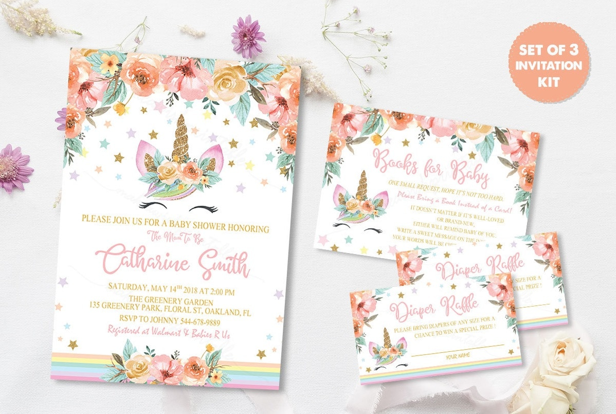 Unicorn Invitation Suite by MakeAWishPrintable | Etsy
