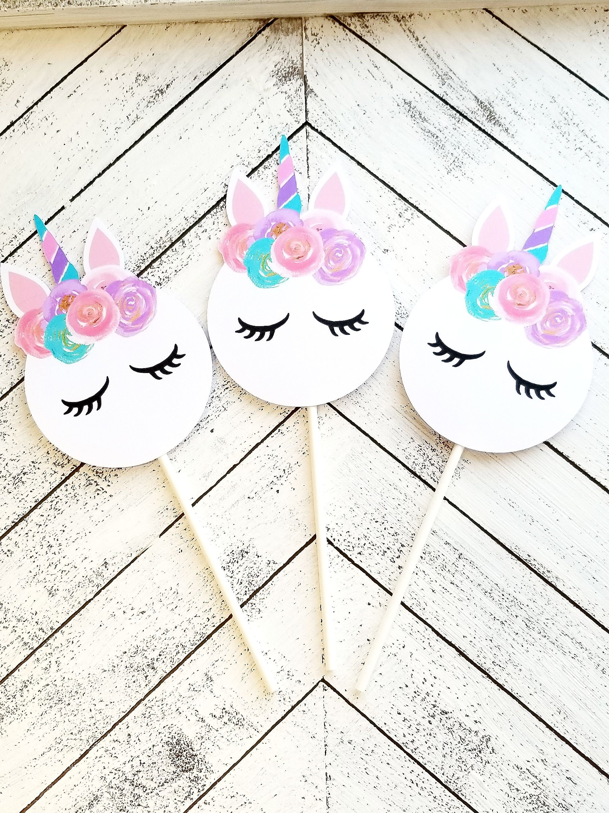 Pastel Unicorn Cupcake Toppers- Unicorn Birthday- Unicorn Party Cupcakes