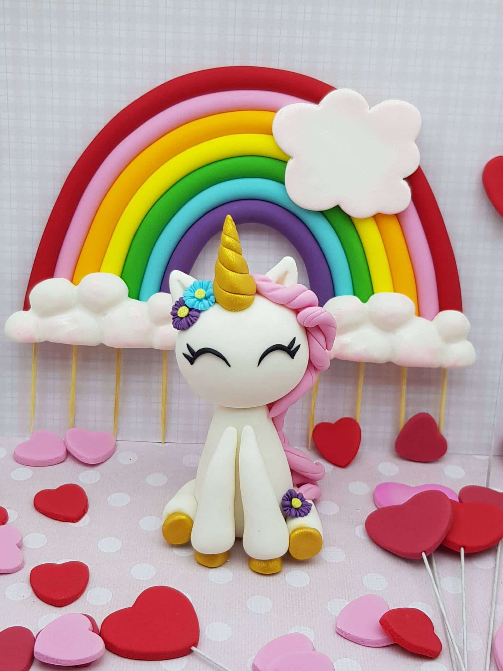 Sweet Little Unicorn Cake Topper - Edible Unicorn Topper - Unicorn Birthday - Rainbow Cake - Fondant Decoration
