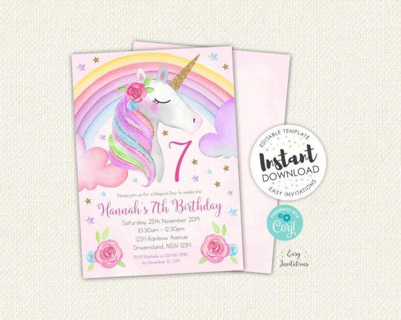 Rainbow Unicorn themed invitation